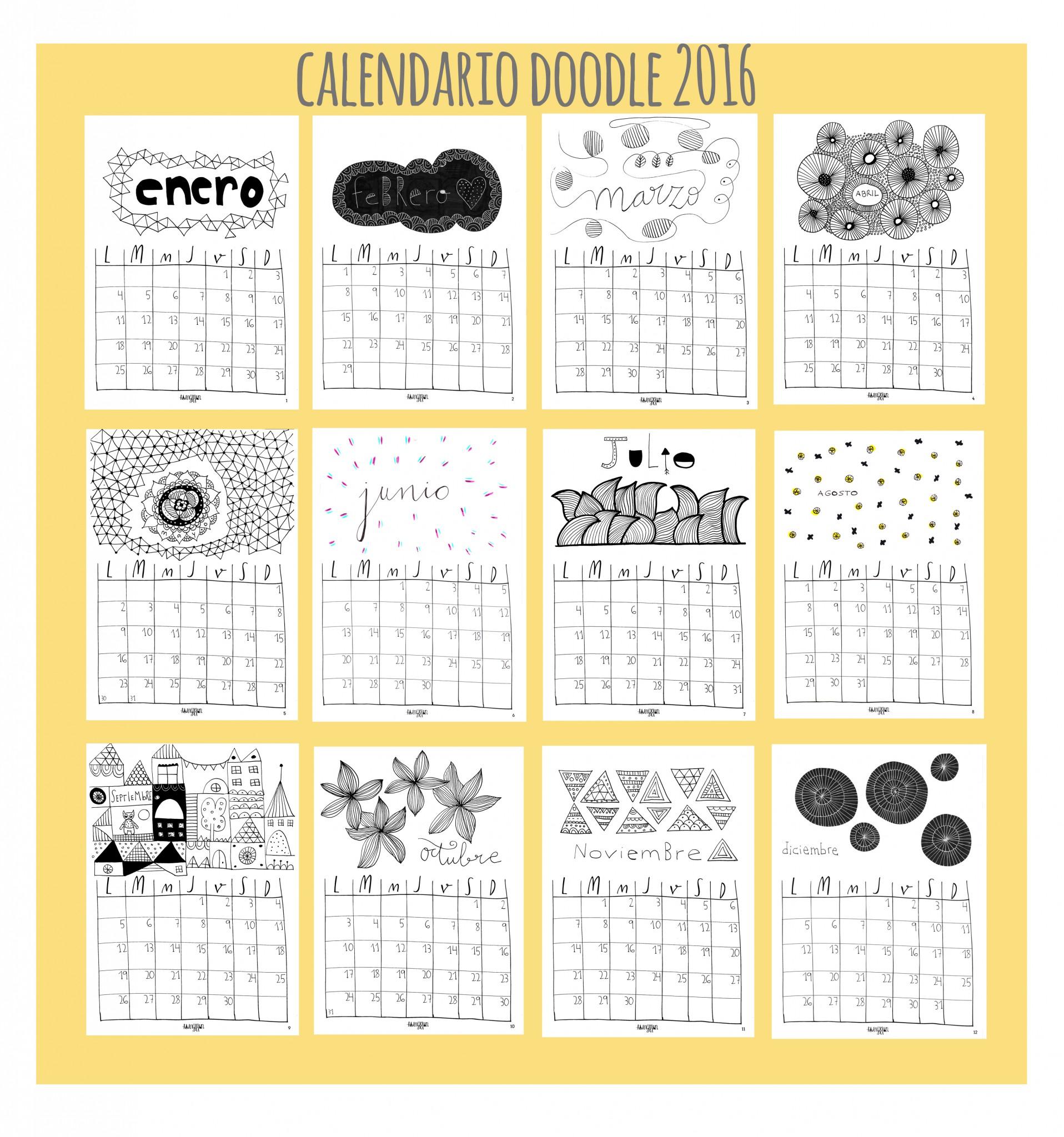 calendario doodle 2016