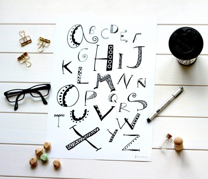 lamina abecedario doodle