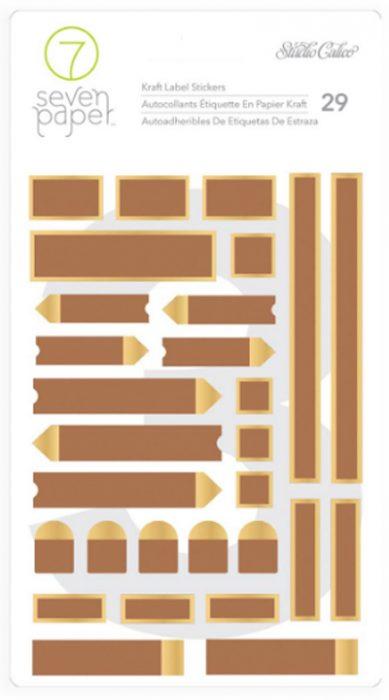 Etiquetas papel kraft y dorado