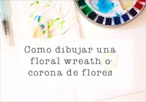 dibujar corona de flores