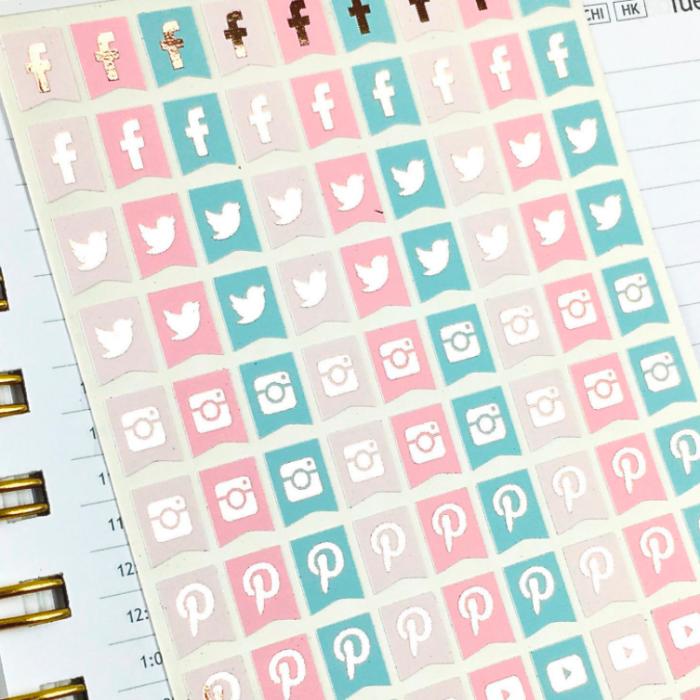 Pegatinas pastel-oro rosa Social Media
